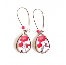 cabochon earrings, drops, delicate red poppies, bronze