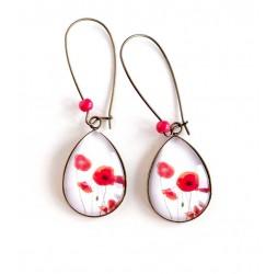 Boucles d'oreilles cabochon, gouttes, petits coquelicots rouge, blanc, bronze