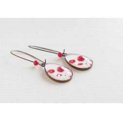 cabochon earrings, drops, small red poppies, white, bronze