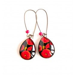 cabochon earrings, drops, large red poppy, black, bronze