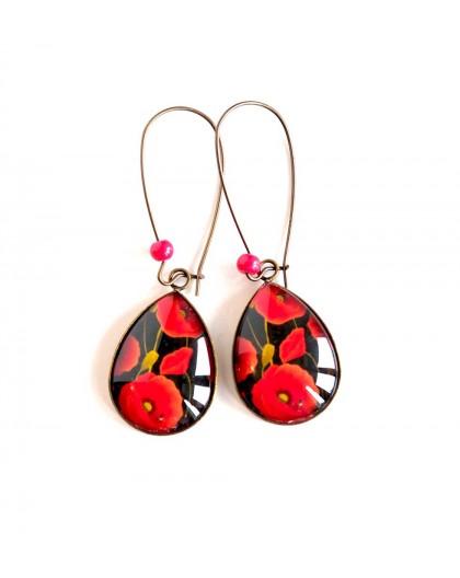 cabochon earrings, drops, large red poppy, black, bronze