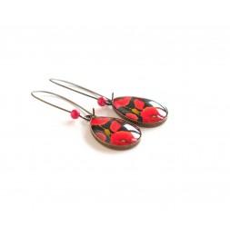Boucles d'oreilles cabochon, gouttes, gros coquelicot rouge, noir, bronze