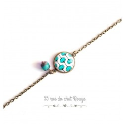 Women's bracelet, fine chain, cabochon Modern light blue flower, Japan