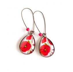 cabochon earrings, drops, large red poppy, white, bronze