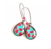 Boucles d'oreilles cabochon, gouttes, fleurs de coquelicot rouge, turquoise, bronze