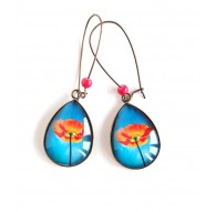 cabochon earrings, drops, big poppy red, turquoise, bronze