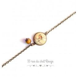 Pulsera mujer, cadena fina, cabujón pájaro pequeño, Japón, romántico, beige anaranjado
