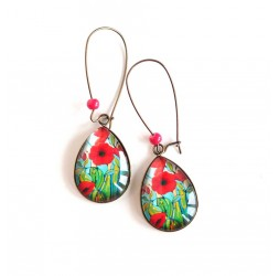 cabochon earrings, drops, red poppies fields, green, bronze