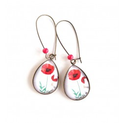 cabochon earrings, drops, flower poppy red, white, bronze