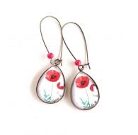 Boucles d'oreilles cabochon, gouttes, fleur de coquelicot rouge, blanc, bronze