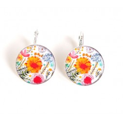 Earrings cabochon, colorful flowers, red orange, epoxy resin, silver
