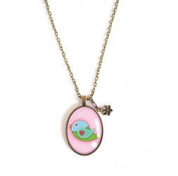 Long Necklace 70 cm, pendant cabochon 30x40, little bird, pink and green, bronze