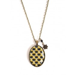 Long Necklace 70 cm, pendant cabochon 30x40 Pattern Japan, black and gold, bronze