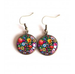 Earrings cabochon Colorful flowers, folklore Slave bronze
