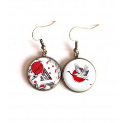 orecchini cabochon, Uccello Giappone, rosso, bianco, bronzo