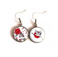 Boucles d'oreilles cabochon, Oiseau du Japon, rouge, blanc, bronze