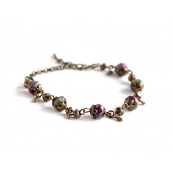 Natural stone bracelet, Ruby on Zoisite, green, fuchsia, bronze
