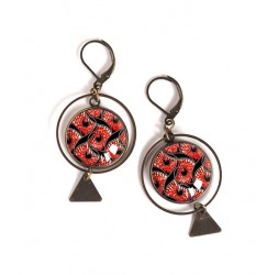 cabochon earrings, ethnic, wax, red and black, Bronze