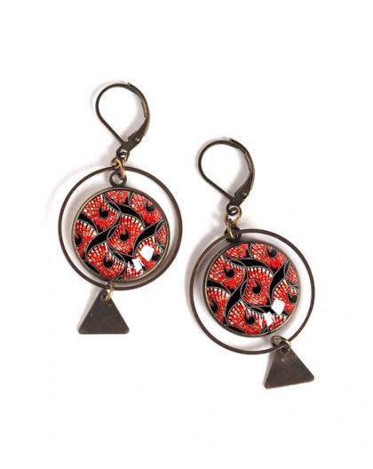 Boucles d'oreilles cabochon, ethnique, wax, rouge et noir, Bronze