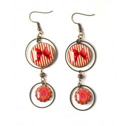 Boucles d'oreilles double cabochon, Noeud papillon, année 60's, rouge et or, bronze