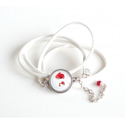 Cuff bracelet, white leather look, cabochon poppy, silver