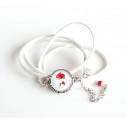 pulsera brazalete, mirada de cuero blanco, amapola cabujón, plata