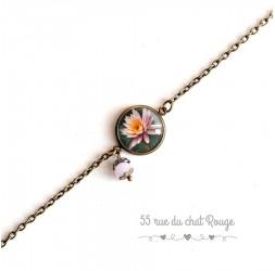 Damenarmband, feine Kette, Cabochon Blume Seerose, Zen, pink und bert