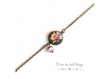 Women's bracelet, fine chain, cabochon Flower Water lily, Zen, pink and bert