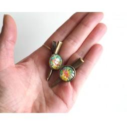 Spange Haarkappe, Seerose, Zen, rosa, grün, bronze
