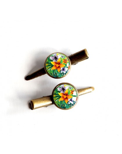 barrette hair cap, Exotic, Tropical, multicolor, bronze
