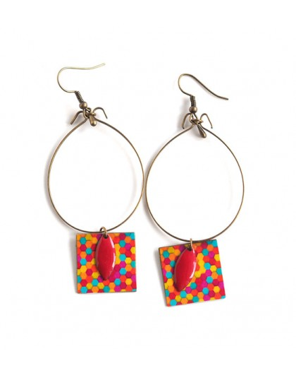 Earrings, pendant colorful, red, orange, bronze