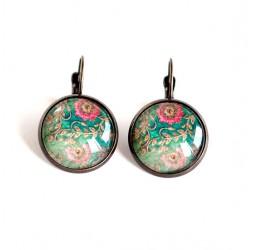 Boucles d'oreilles cabochon, dormeuses, fleurs rétro, bleu rose, bronze