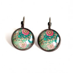 cabochon earrings, stud earrings, retro flowers, pink blue, bronze