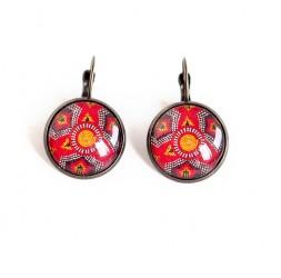 Boucles d'oreilles cabochon, dormeuses, ethnique, wax, rouge et bronze