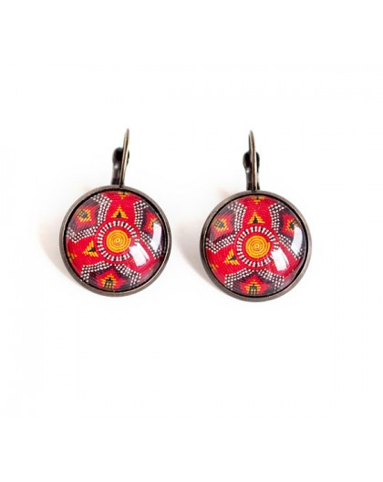 cabochon earrings, stud earrings, ethnic, wax, red and bronze