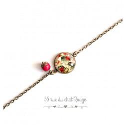 Bracciale donna, catena fine, fiori tropicali cabochon, verde rosso kaki e beige, esotico