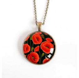 cabochon pendant necklace, Big Poppy Flower, black, bronze, 30 mm