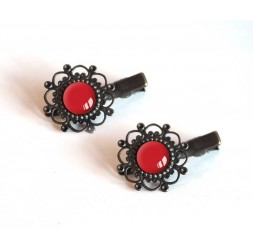 2 hair clips, red cabochon, 12 mm, Bronze