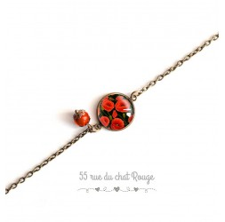 Chain bracelet, cabochon 14 mm, poppy flowers, red black, bronze