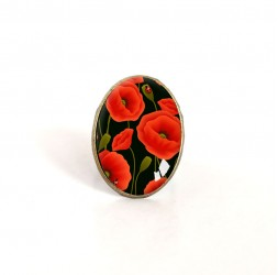 oval cabochon ring, poppy flowers, red, black, bronze