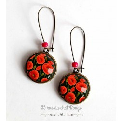 Earrings cabochon, red poppy flowers, black and bronze