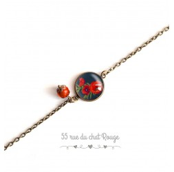 Chain bracelet, cabochon 14mm bouquet of poppies, red black, bronze