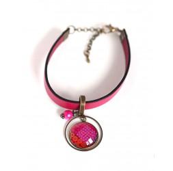Women's bracelet, fuchsia leather, red flower cabochon and fuchsia