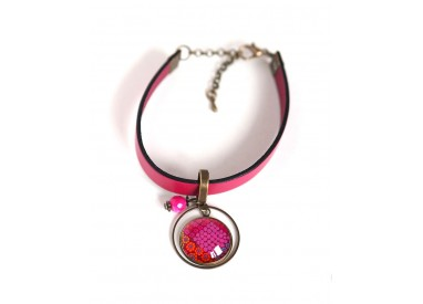 Women's bracelet, fuchsia leather, red flower cabochon and fuchsia