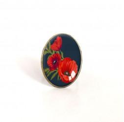 Bague cabochon ovale, Bouquet de coquelicots, rouge, noir, bronze