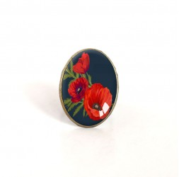 oval cabochon ring of poppies Bouquet, red, black, bronze
