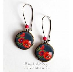 Boucles d'oreilles cabochon, Bouquet de coquelicots rouge, noir et bronze