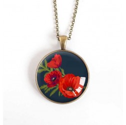 cabochon pendant necklace, Poppies Bouquet, black, bronze, 30 mm
