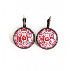 Aretes de cabujón pendiente peruana foklore, rojo, blanco y bronce