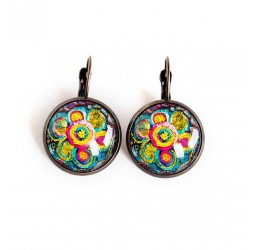 Earrings stud earring cabochon, ultra colorful, glass, multicolor, bronze